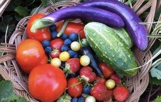 Organic fruits and veggies.